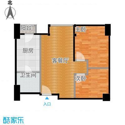 星星华园国际63.00㎡公寓户型2室1厅1卫1厨