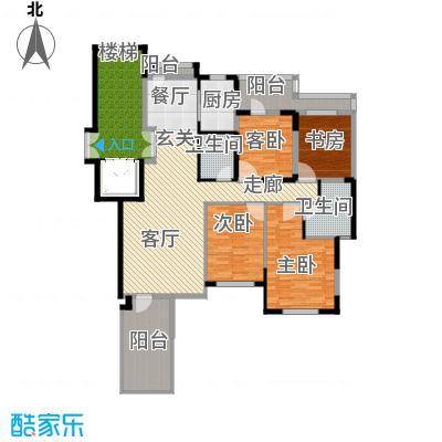 金地锦城140.00㎡二层褐石洋房户型4室1厅2卫1厨