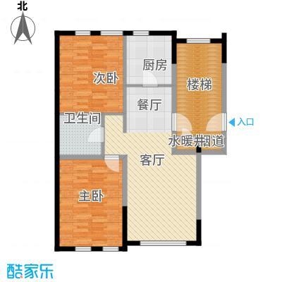 金地锦城90.00㎡标准层街区多层户型2室1厅1卫1厨