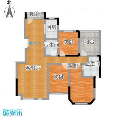 金地锦城125.00㎡标准层褐石洋房户型3室1厅2卫1厨