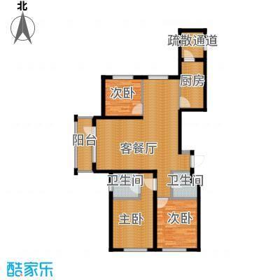 格林馨港湾125.00㎡P户型3室2厅2卫