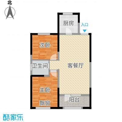 金地檀溪89.00㎡高层1号楼C1户型2室2厅1卫