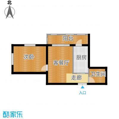 金域蓝城54.53㎡一期高层一居户型1室1厅1卫1厨