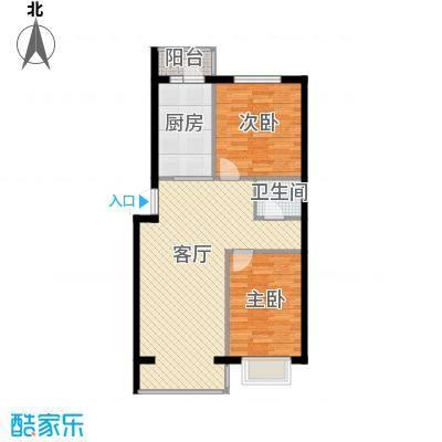 北华家园104.00㎡经典两居+供热阳台户型2室1厅1卫1厨