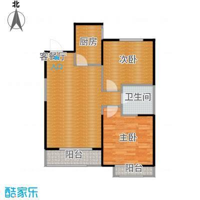 金地国际花园72.95㎡B3层平面图户型2室1厅1卫1厨