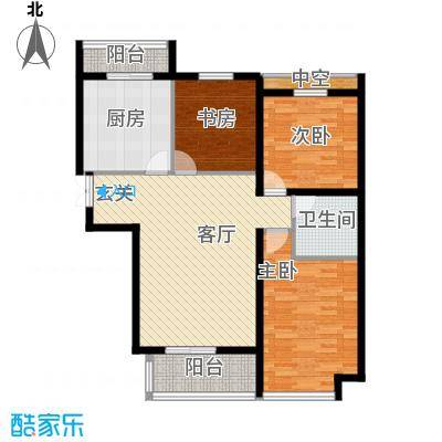 悦城84.81㎡G4/5#户型3室1厅1卫1厨