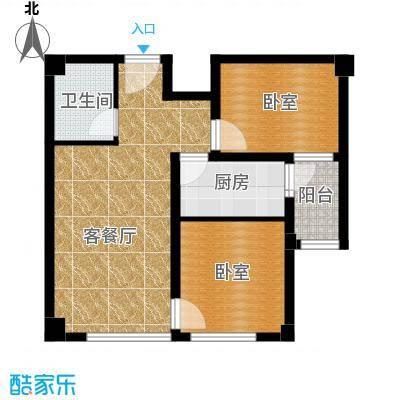 国际总部花园85.50㎡B2户型2室1厅1卫
