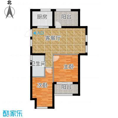 金都夏宫88.00㎡夏宫荷院2、6号楼B1户型3室2厅1卫