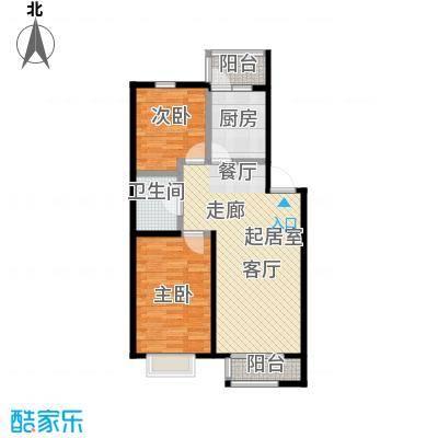 和泰馨城2室1厅1卫1厨 面积:85.70平方户型