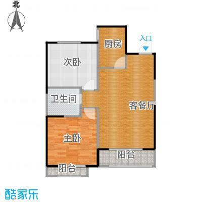 金地国际花园73.32㎡B3层平面图户型2室1厅1卫1厨
