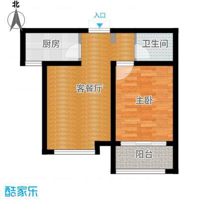 凤河・孔雀英国宫60.40㎡10号楼户型1室1厅1卫