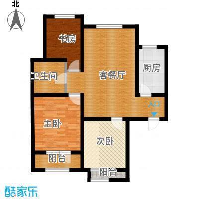 凤河・孔雀英国宫104.77㎡14、17号楼户型3室2厅1卫