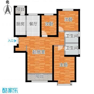 凤河・孔雀英国宫128.14㎡2、3号楼户型3室2厅2卫