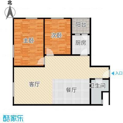 华鸿国际中心74.85㎡1-D使用面积户型2室2厅1卫