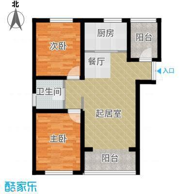 香榭家园85.00㎡图为A1户型2室1卫1厨