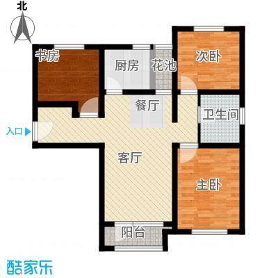 鸿坤・理想湾98.90㎡F户型2室2厅1卫