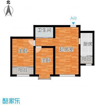 凤河・孔雀英国宫86.40㎡2、3号楼户型2室2厅1卫