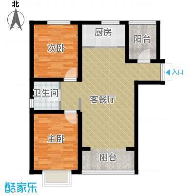 香榭家园83.55㎡A1户型2室1厅1卫1厨
