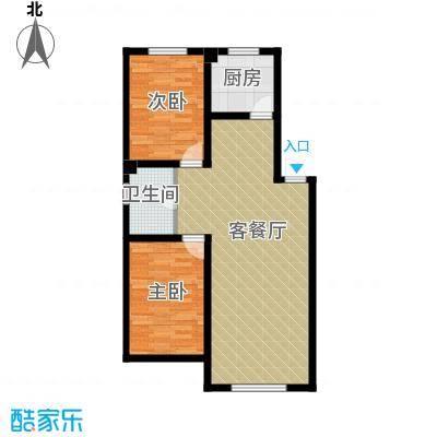 南湖祥水湾77.40㎡户型2室1厅1卫1厨