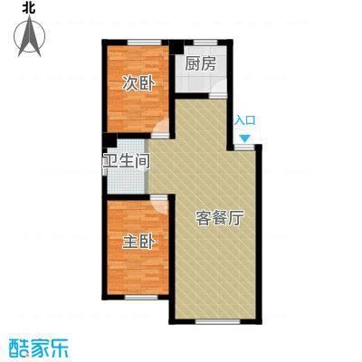南湖祥水湾77.46㎡户型2室1厅1卫1厨