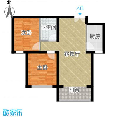 香榭家园85.00㎡图为A2户型2室1厅1卫1厨