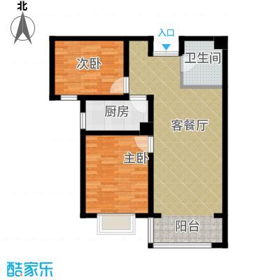 香榭家园87.00㎡图为B2户型2室1厅1卫1厨