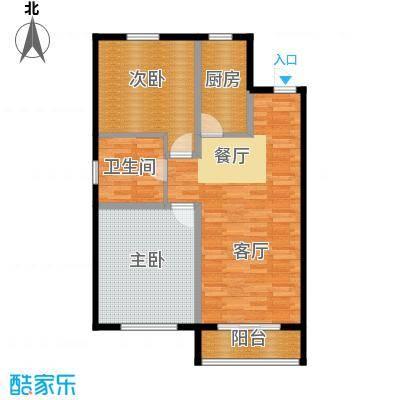 纳帕名门91.28㎡高层G5户型2室2厅1卫