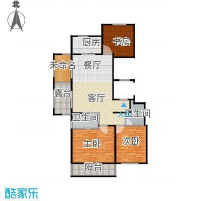 万科草庄131.00㎡B15号6号楼边套偶数层户型3室1厅2卫1厨