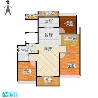 万科草庄131.00㎡B25号6号楼中间套户型3室1厅2卫1厨