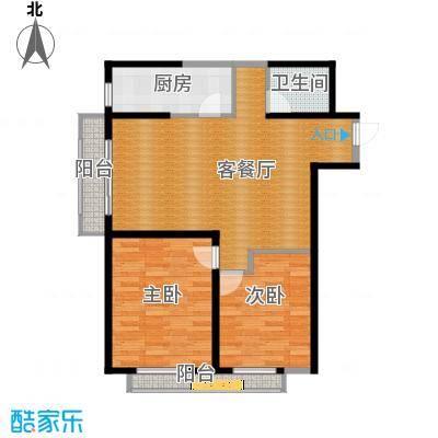 碧桂园凤凰城102.41㎡左邻右里户型2室2厅1卫