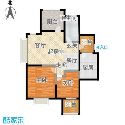 金地自在城89.00㎡38号楼和39号楼C5型偶数标准层户型2室1卫1厨