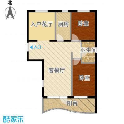 山海同湾90.40㎡17号楼B户型2室1厅1卫
