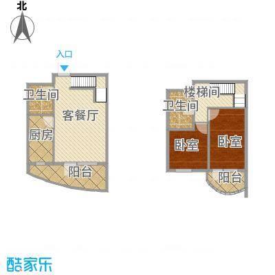 山海同湾89.70㎡17号楼C户型2室1厅2卫