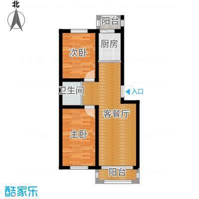 塞纳阳光76.85㎡多层d1户型2室2厅1卫