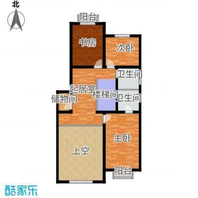 绿洲湾8号115.98㎡叠墅A-02二层户型10室