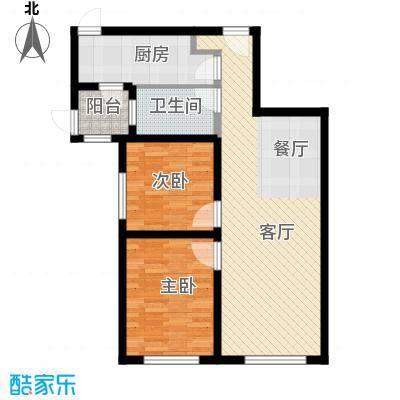 富力新城77.00㎡B1户型2室2厅1卫