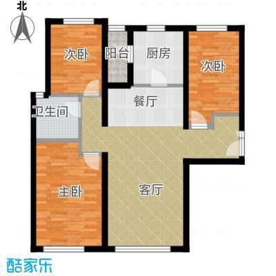 富力新城99.00㎡B2户型3室2厅1卫