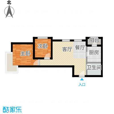 富力新城59.29㎡户型2室2厅1卫