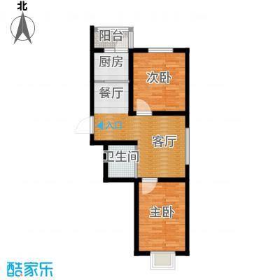 荣发时代新城67.49㎡A户型2室2厅1卫
