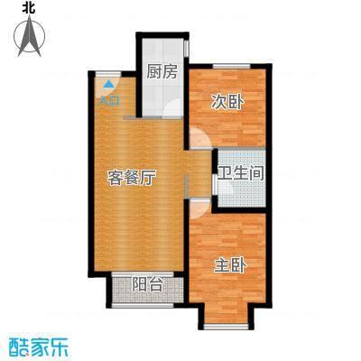 廊坊孔雀城85.00㎡图为户型2室2厅1卫