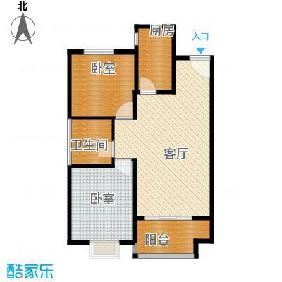 廊坊孔雀城87.00㎡图为户型2室2厅1卫