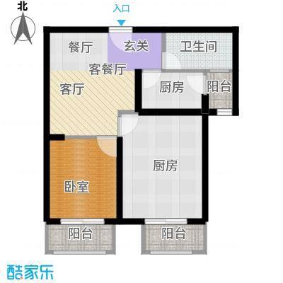 丁豪广场80.00㎡B户型2室2厅1卫