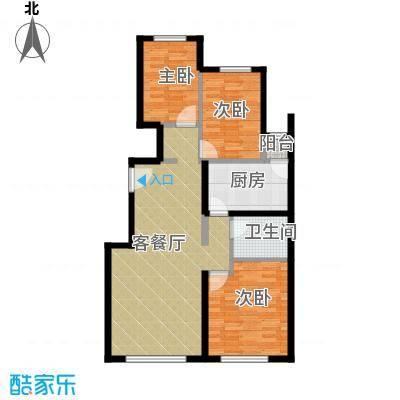 富力新城101.00㎡户型3室2厅1卫