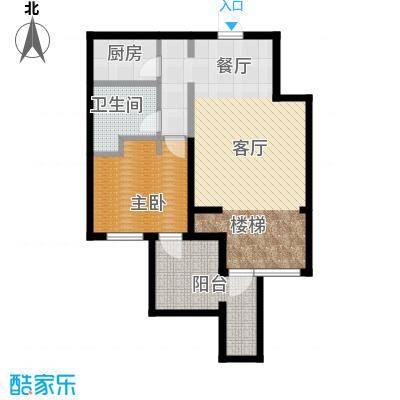 八达岭孔雀城77.40㎡A1地下一层户型1室2厅1卫