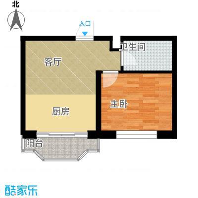 台北华郡51.00㎡户型1室1厅1卫