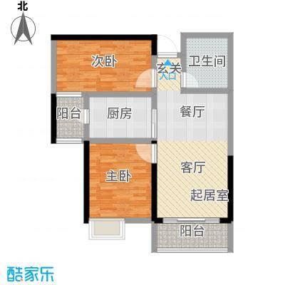 恒大翡翠华庭2-5号楼C户型2室1卫1厨