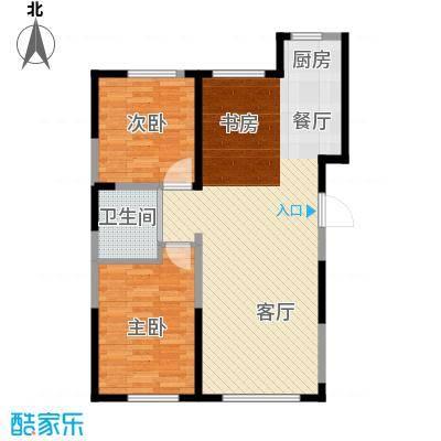 中顺福苑90.29㎡E1户型2室2厅1卫