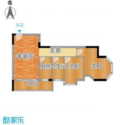 大步海滨花园三期89.63㎡3号楼标准层02单元03户型2室2厅1卫