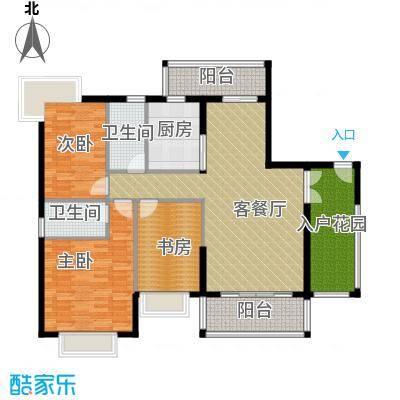 新世纪江畔湾125.03㎡A1户型3室1厅2卫1厨
