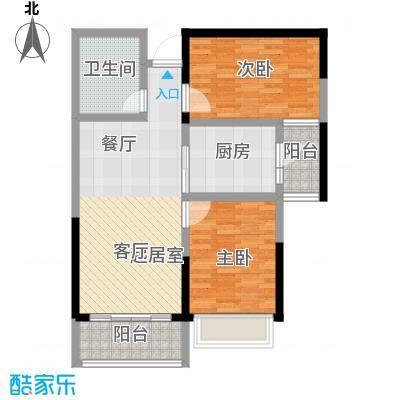 恒大翡翠华庭2-5号楼B户型2室1卫1厨